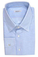 Zilli Shirt Sky Blue Stripes Linen Cotton Blend 43 - 17