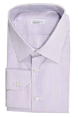 Zilli Dress Shirt White Pink Plum Stripes 45 - 17 3/4 SALE