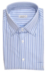 Zilli Shirt Blue Navy Stripes Dress Shirt 43 - 17