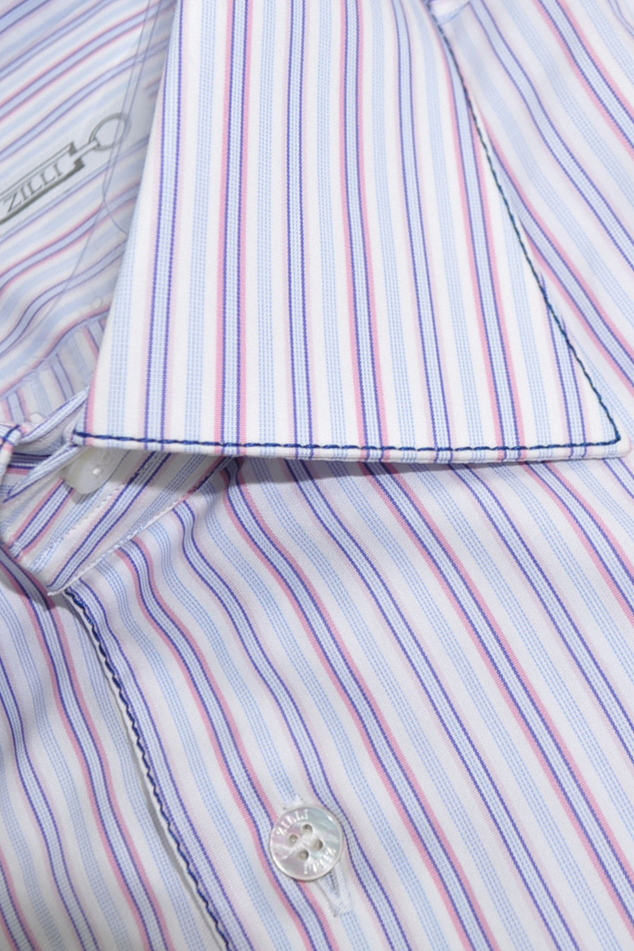 Zilli Shirt White Blue Pink Navy Stripes Egyptian Cotton