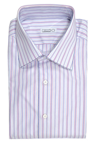 Zilli Shirt White Blue Pink Navy Stripes Egyptian Cotton 44 - 17 1/2 SALE