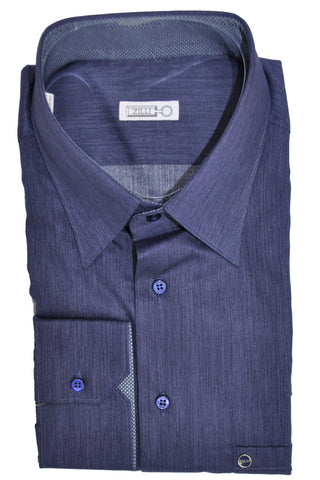 Zilli Shirt Dark Blue Gray - Hand Made In Italy 44 - 17 1/2