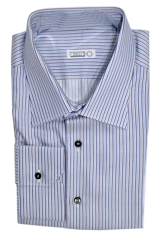 Zilli Shirt White Blue Navy Stripes 44 - 17 1/2
