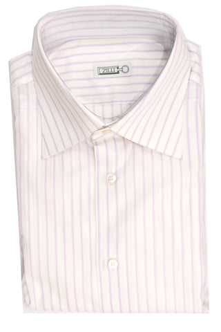 Zilli Shirt White Lilac Stripes - Hand Made In Italy 41 - 16 SALE