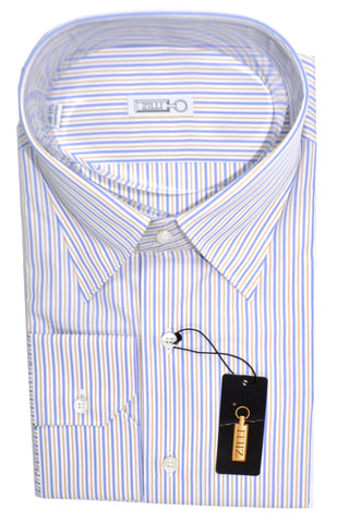 Zilli Dress Shirt White Blue Orange Stripes 45 - 17 3/4