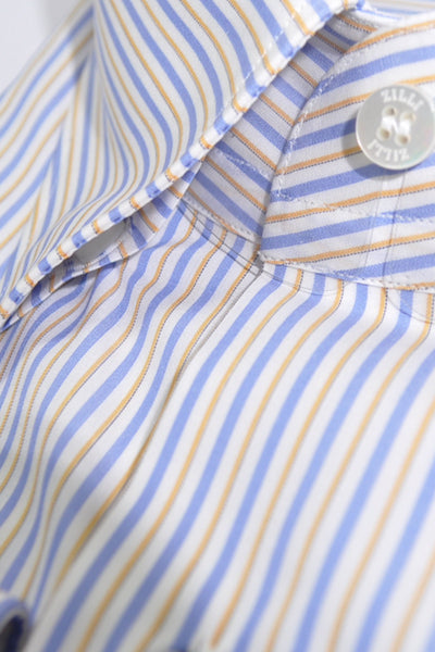 Zilli Dress Shirt White Blue Orange Stripes 45 - 17 3/4 SALE
