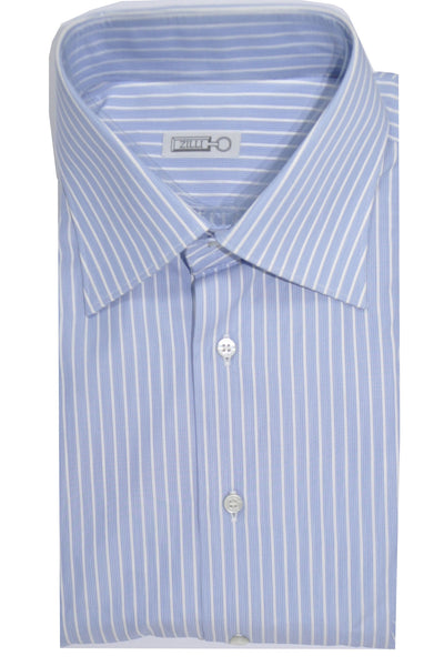 Zilli Shirt White Blue Navy Stripes