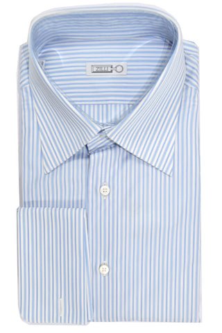 Zilli Shirt Blue Stripes French Cuffs 40 - 15 3/4