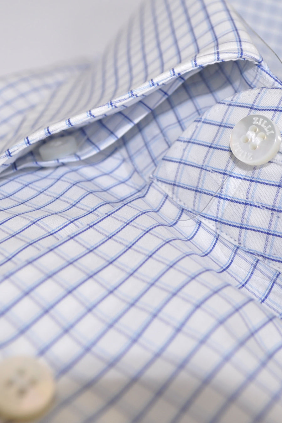 Genuine Zilli Dress Shirt White Blue Navy Check