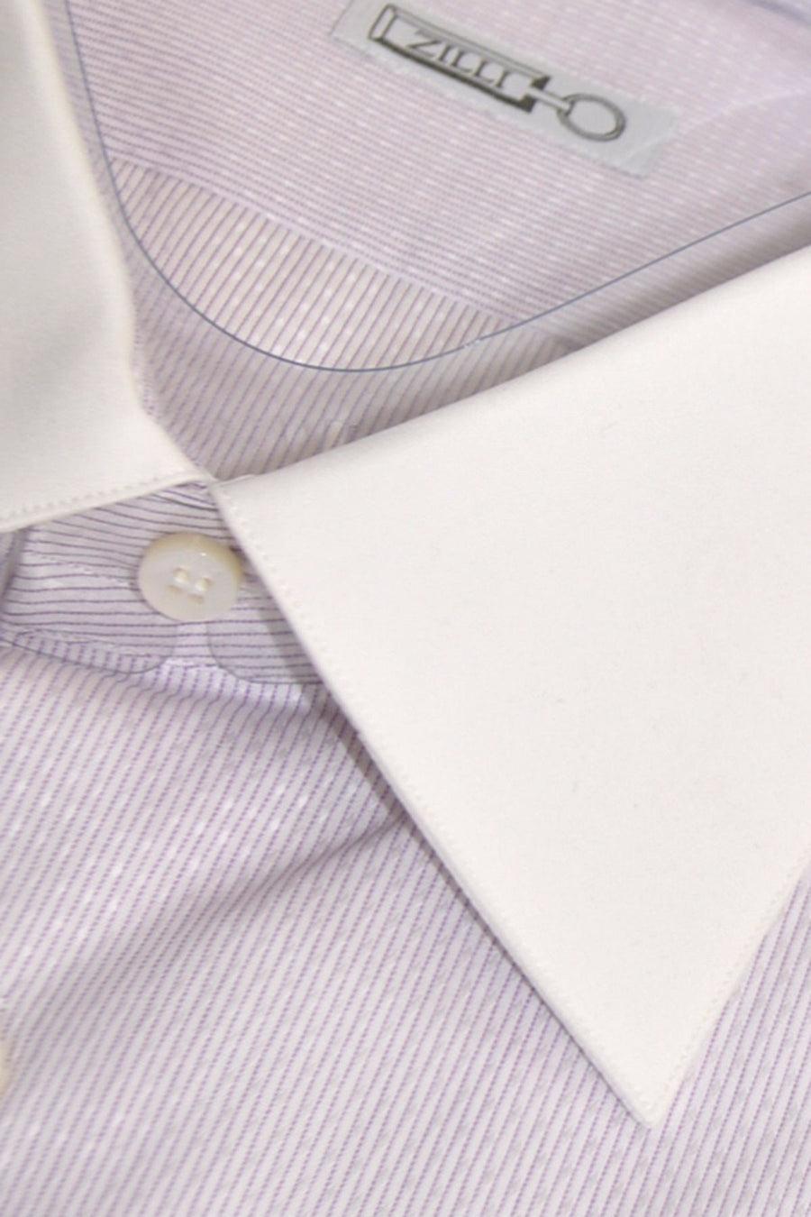 Zilli Dress Shirt White Purple Stripes