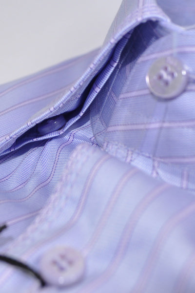 Zilli Dress Shirt Blue Pink Stripes Underneath Collar Button Down