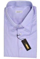 Zilli Dress Shirt Blue Pink Stripes New