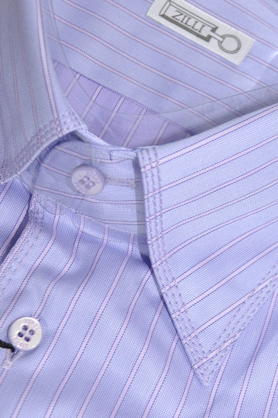 Zilli Dress Shirt Blue Pink Stripes - Hand Made In Italy 44 - 17 1/2 SALE