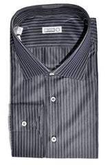 Zilli Shirt Gray Stripes Cotton Silk - Hand Made In Italy 44 - 17 1/2 SALE