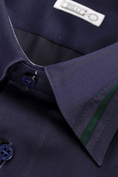 Zilli Dress Shirt Navy Green zilli