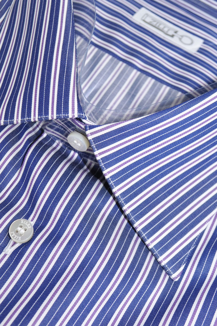 Zilli Shirt White Navy Purple Stripes