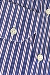 Zilli Shirt White Navy Purple Stripes - Hand Made In Italy 44 - 17 1/2 SALE