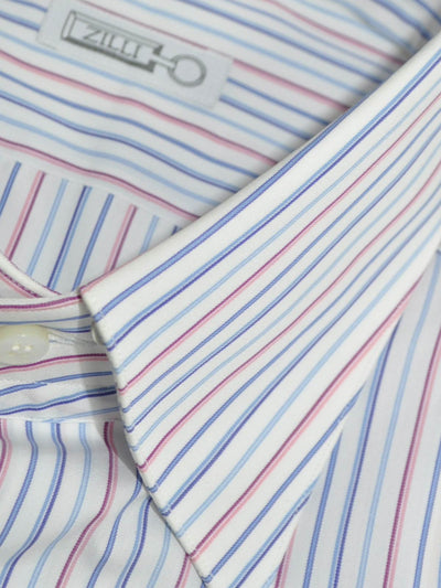 Zilli Dress Shirt White Blue Pink Stripes 40- 15 3/4 SALE