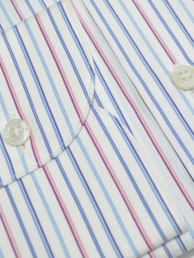 Zilli Dress Shirt White Blue Pink Stripes