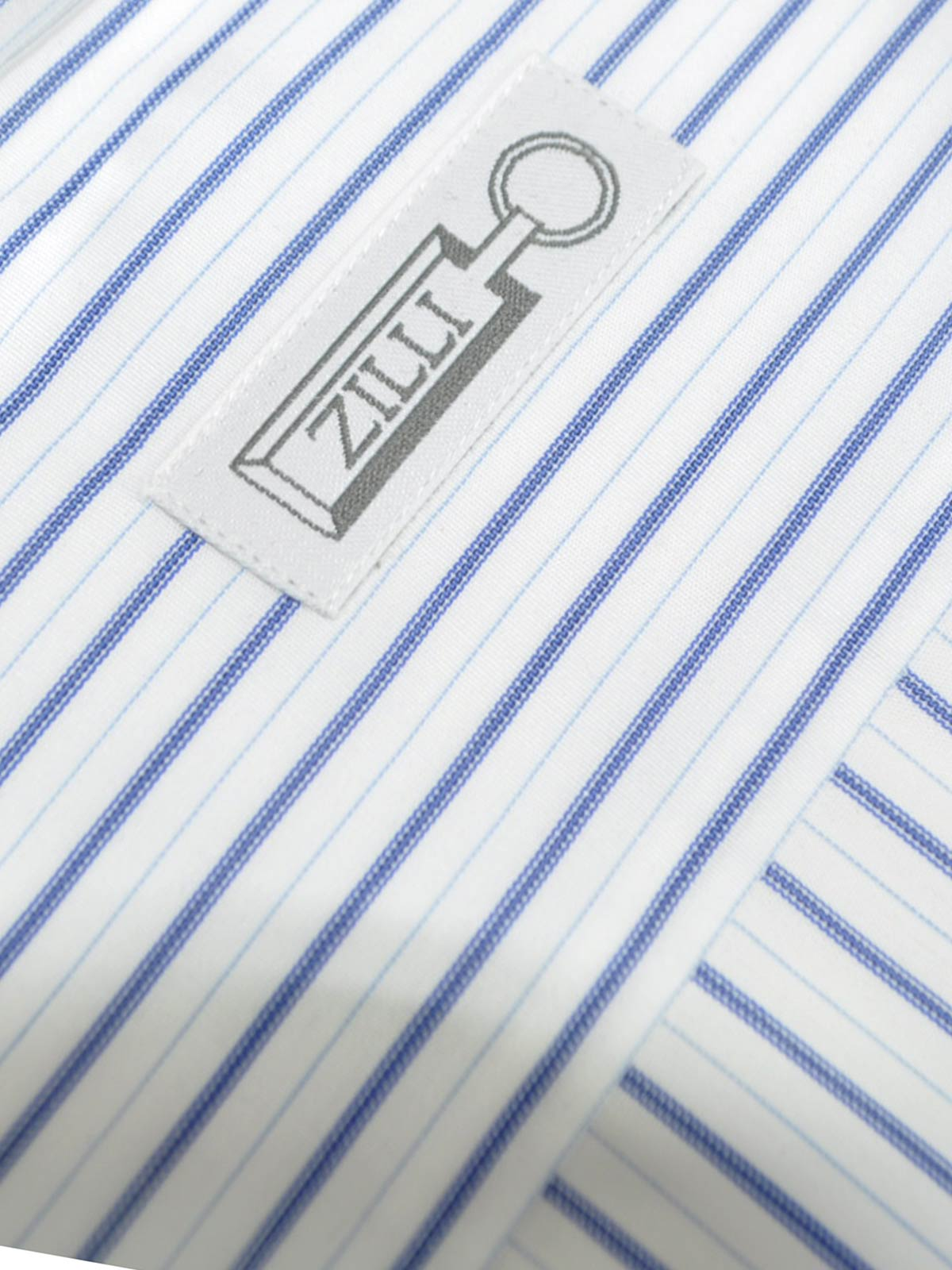 Zilli Dress Shirt White Navy Stripes New