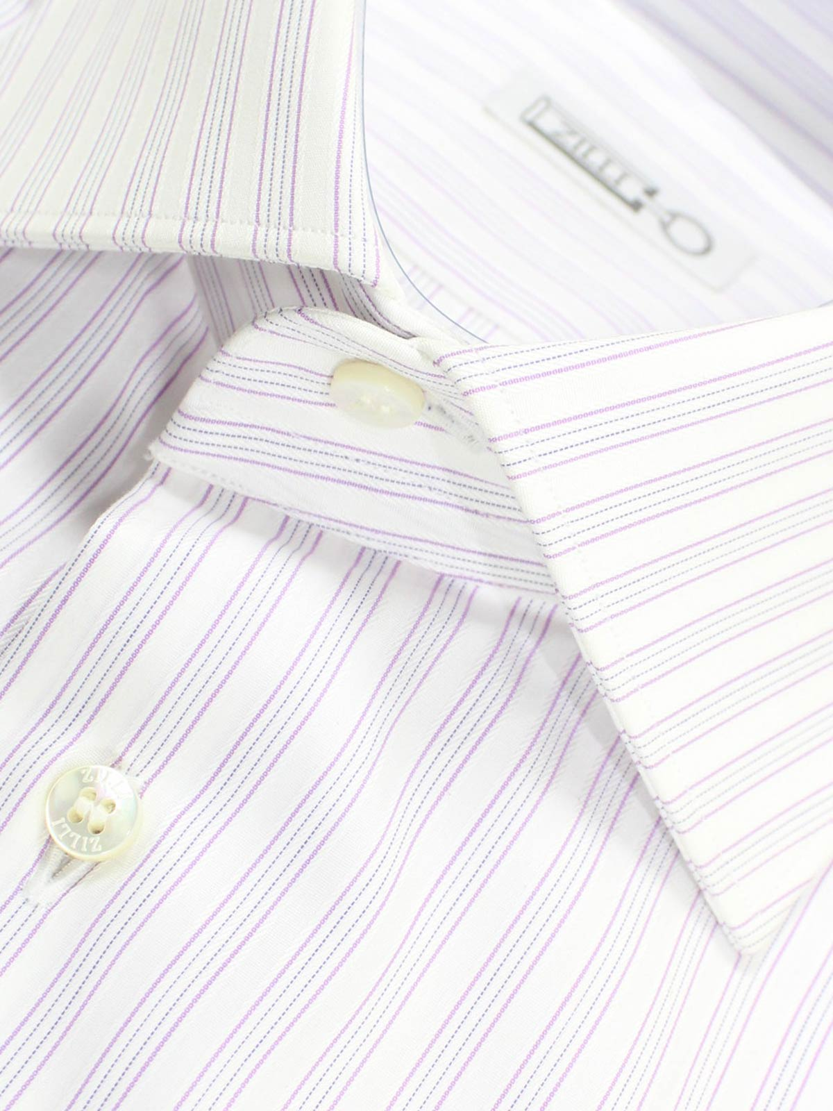 Zilli Dress Shirt White Lilac Stripes