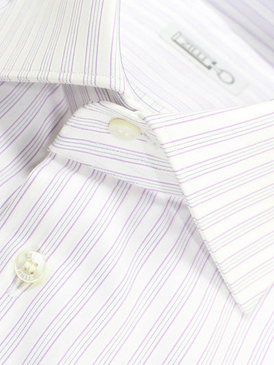 Zilli Dress Shirt White Lilac Stripes 40 - 15 3/4 SALE