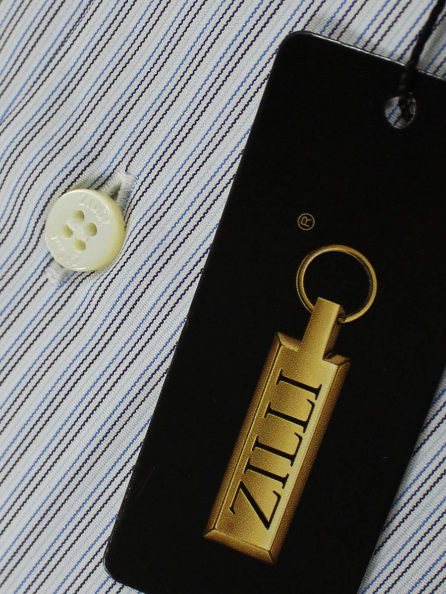 Zilli Dress Shirt White Royal Blue Black Pin Stripes 45 - 17 3/4