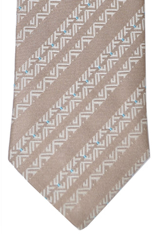 Zilli Tie Cream-Taupe Sky Blue - Sevenfold Necktie FINAL SALE