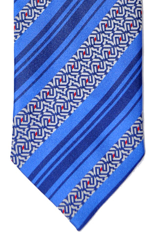 Zilli Tie Navy Royal Blue Stripes - Sevenfold Necktie