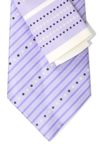 Zilli Tie & Pocket Square Set Lilac Stripes & Dots