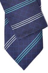 Zilli Tie & Pocket Square Set Navy Turquoise Stripes