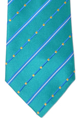 Zilli Extra Long Tie Turquoise Blue Stripes