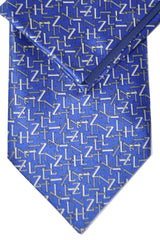 Genuine Zilli Tie & Pocket Square Set Navy Gray Logo