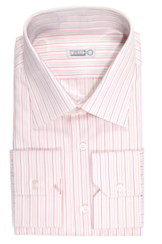 Zilli Dress Shirt White Pink Blue Stripes 40- 15 3/4