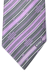 Zilli Tie Lilac Gray Stripes - Wide Necktie