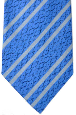 Zilli Tie Blue Gray Stripes - Wide Necktie