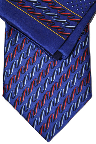 Zilli Tie & Pocket Square Set Navy Red Swirly Stripes