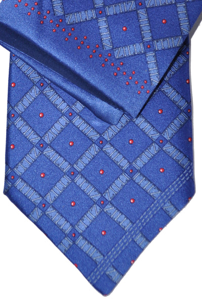 Zilli Tie & Pocket Square Set Navy Midnight Blue Red Dots