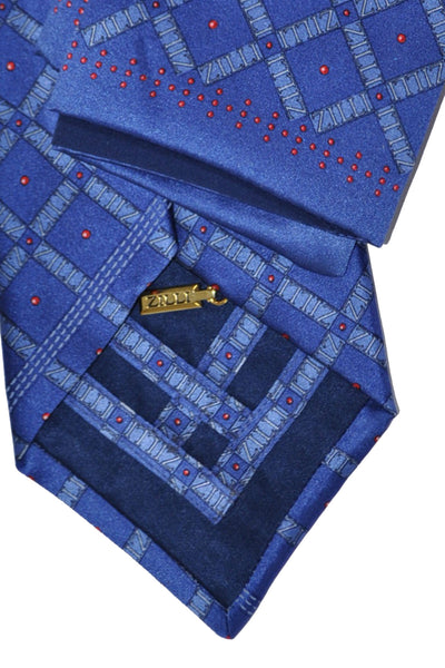 Zilli Tie & Pocket Square Set Navy Midnight Blue Red Dots SALE