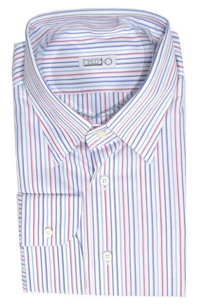 Zilli Dress Shirt White Pink Blue Stripes