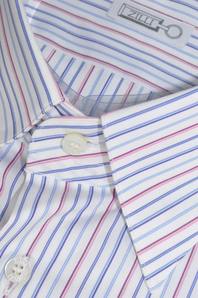 Zilli Shirt White Pink Blue Stripes