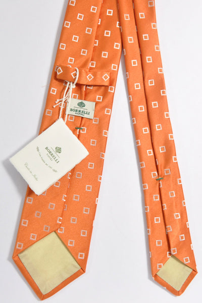 Luigi Borrelli Tie Rust Orange Squares FINAL SALE