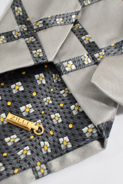Zilli Tie Gray Floral Windowpane