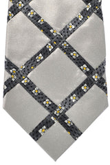 Zilli Tie Gray Floral Windowpane - Conservative Width