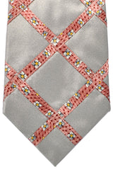 Zilli Tie Gray Pink Floral Stripes - Conservative Width