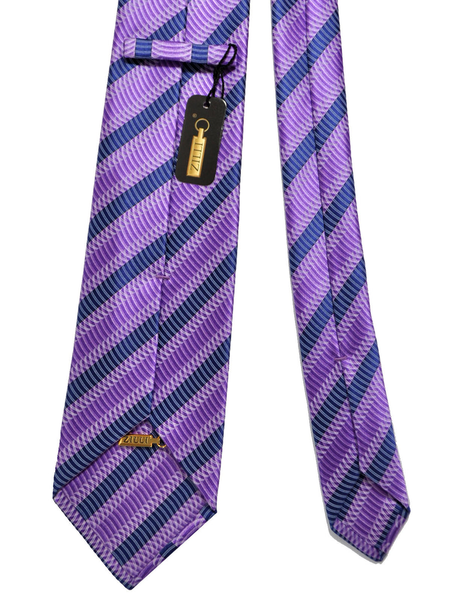 Zilli Tie Purple Dark Navy Stripes