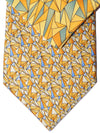 Zilli Tie & Pocket Square Set Yellow Orange Blue Triangles