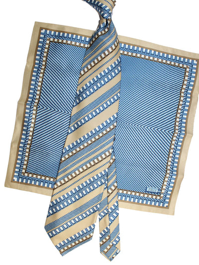 Zilli Silk Tie & Pocket Square Set Cream Blue Stripes FINAL SALE