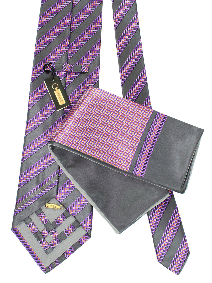 Zilli Extra Long Tie And Pocket Square Set Gray Purple Stripes