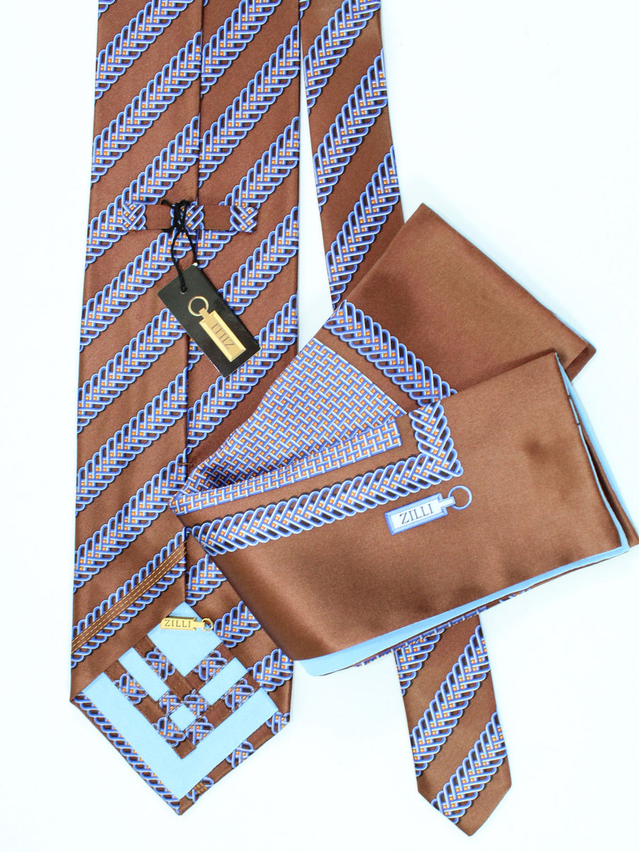Zilli Extra Long Tie And Pocket Square Set Brown